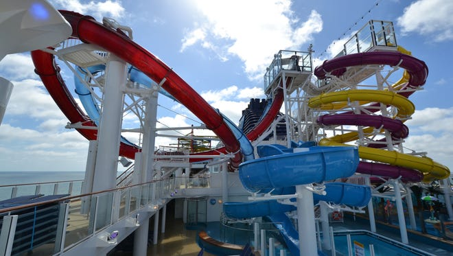 The five water slides at the Norwegian Breakaway's Aqua Park include the Whip, a pair of side-by-side twister slides.