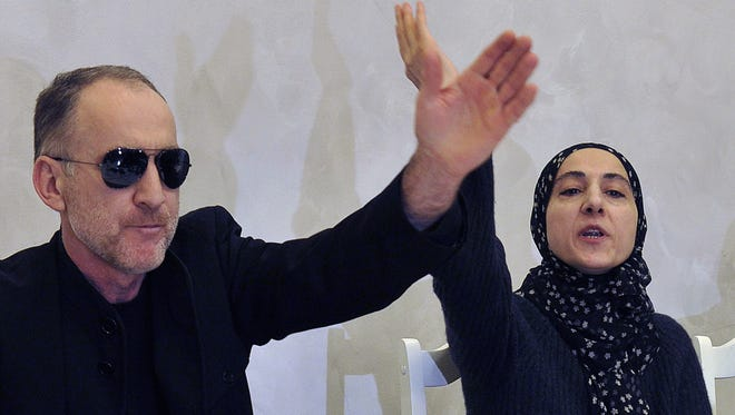 Anzor, left, and Zubeidat Tsarnaeva, parents of the suspected Boston Marathon bombers, at a news conference Thursday in Makhachkala, capital of Dagestan.