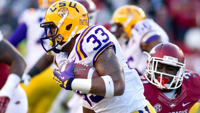 Jeremy Hill, shown in action last season vs. Arkansas, had 12 TDs, most for an LSU freshman since 1982.