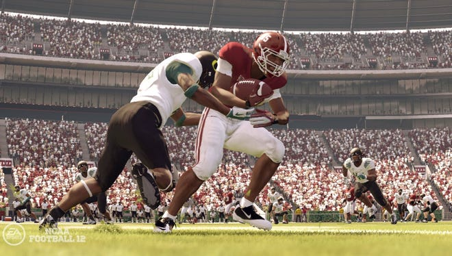 """Images like this from EA Sports' """"NCAA Football 12"""" are at the heart of a name and likeness suit brought against the company. The NCAA filed objections Tuesday that could delay the next hearing in the case."""