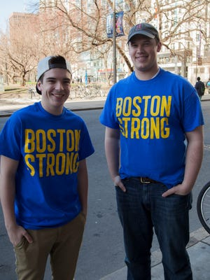 Nick Reynolds (right) with Chris Dobens (left) in the Boston Strong T-shirts they created hours after the Marathon bombings