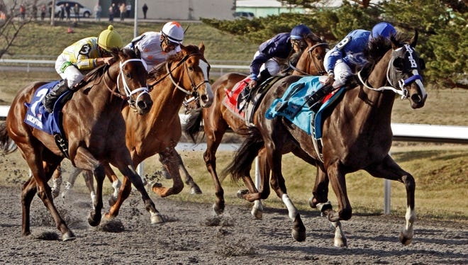 Giant Finish, second from left (Jockey Jose Espinoza (Red and white helmet) finished third behind Black onyx and Uncaptured in the Spiral Stakes in March at Turfway Park.