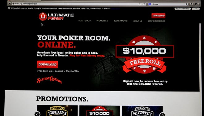 The home page for Ultimate Poker by the company Ultimate Gaming is seen on a computer screen at the company's headquarters.