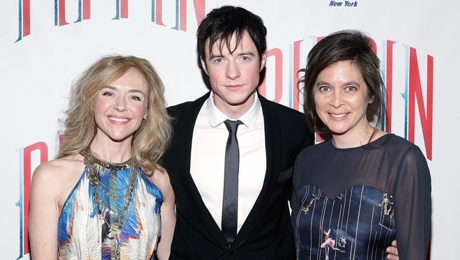 'Pippin' director Diane Paulus, right, hits the red carpet with two of the show's stars, Matthew James and Rachel Bay Jones.