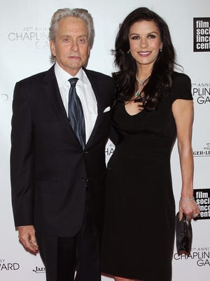 Michael Douglas and his wife, Catherine Zeta-Jones at a gala in New York on April 22.