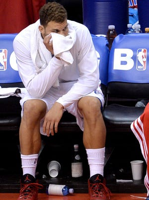 Blake Griffin on the bench at the end of Game 5.