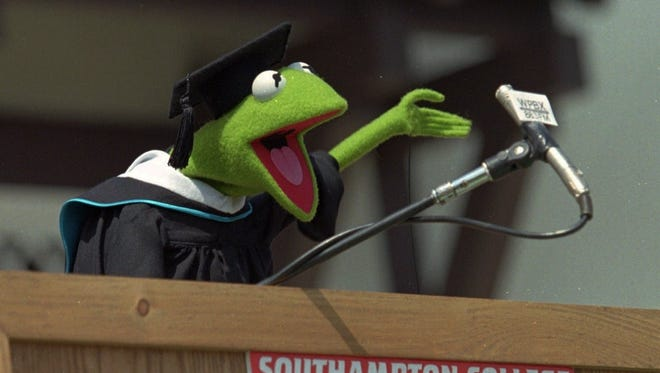 Kermit the Frog addresses the 1996 graduates at Southampton College of Long Island University in Southampton, N.Y. Kermit received an honorary doctorate of amphibious letters.