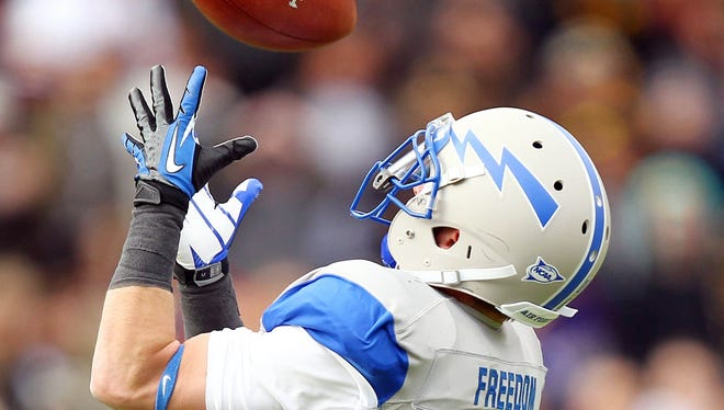 Air Force wide receiver Drew Coleman (16) catches a pass during the second half of a Nov. 3 game at Army. Air Force has proven to be a crucial piece of keeping the Mountain West Conference intact and healthy.
