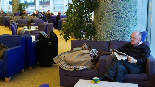 The British Airways Terraces lounge at Seattle-Tacoma International Airport.