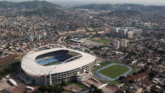 General view of the Joao Havelange Stadium, known locally as the Engenhao, in Rio de Janeiro on April 11. Rio de Janeiro city officials have been forced to temporarily close the stadium because of structural problems with its roof.