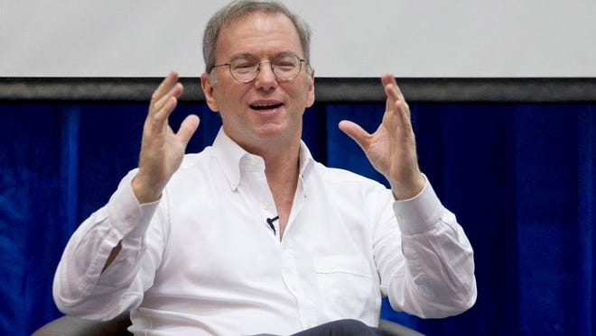 Google Executive Chairman Eric Schmidt gestures during an interactive session with group of students at a technical university in Yangon, Myanmar, in March.