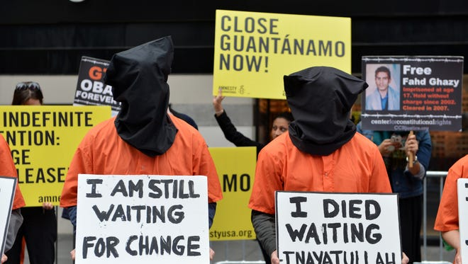 Activists in New York protest the U.S. military detention center at Guantanamo Bay.