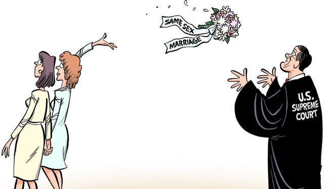 The fate of the Defense of Marriage Act and rights of same-sex couples is now in the hands of the Supreme Court, which is expected to rule sometime before its term ends in June. See more Jeff Parker editorial cartoons at www.floridatoday.com/jeffparker.