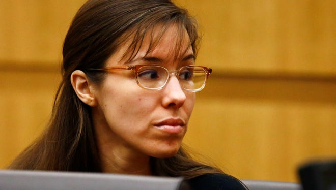 Defendant Jodi Arias looks to her family during closing arguments at her trial on May 3 at Maricopa County Superior Court in Phoenix, Ariz.