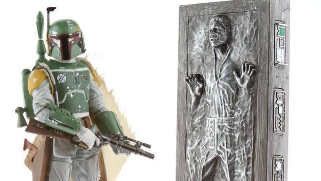 A 'Star Wars' Black Series set ($49.99) of Boba Fett and Han Solo in carbonite will be available exclusively at Comic-Con in July.