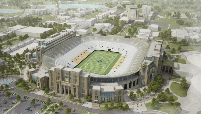 An artist's rendering shows one option for renovation and expansion of Notre Dame Stadium. The seating capacity of the stadium grew by more than 20,000 seats in 1997 to its current 80,795.