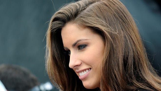 Katherine Webb watches the Aaron's 499, where A.J. McCarron, her boyfriend, drove the pace car.