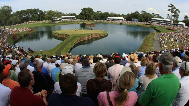 The 17th green at TPC Sawgrass for The Players Championship.