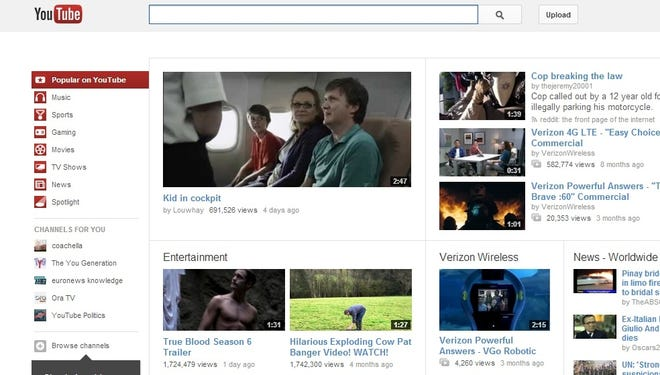 A screenshot of YouTube's home page.