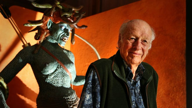 Special-effects creator Ray Harryhausen poses with a model of Medusa from his 1981 film 'Clash Of The Titans.' He died in London May 7 at age 92.