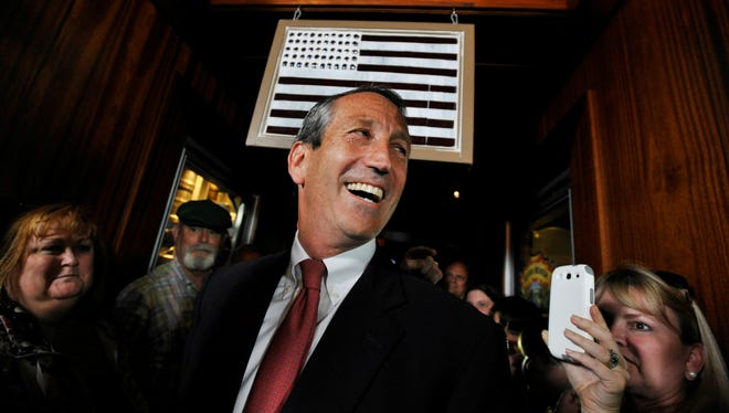 Former South Carolina governor Mark Sanford arrives to give his victory speech Tuesday in Mount Pleasant, S.C.