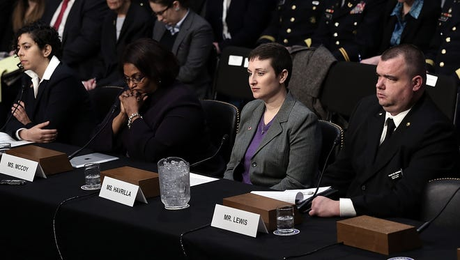 From left: Anu Bhagwati, executive director and co-founder of the Service Women's Action Network, BriGette McCoy, former specialist in the U.S. Army, Rebekah Havrilla, former sergeant in the U.S. Army, and Brian Lewis, former petty officer 3rd class in the U.S. Navy, testify about being sexually assaulted while in the military during a Senate hearing on March 13.