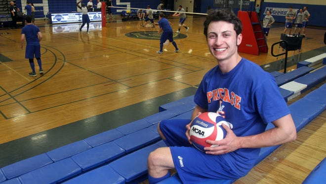 """Taylor Edelmann, the captain of the Purchase College men's volleyball team, photographed before a game at Yeshiva University in Manhattan April 9, 2013. Edelman, who describes himself as a """"transman"""" was born a female but transitioned to a male during the summer of 2011."""