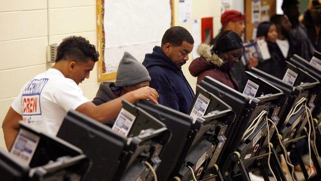 Voters cast ballots in Columbus, Ohio, on Nov. 6, 2012.
