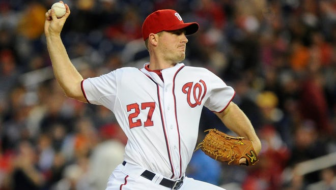 Washington Nationals starting pitcher Jordan Zimmermann throws during the first inning against the Detroit Tigers at Nationals Park.