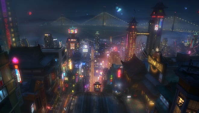 "Seen here in concept art, the high-tech city of San Fransokyo is home to brilliant robotics prodigy Hiro Hamada and his team of rookie crime fighters in ""??Big Hero 6."""