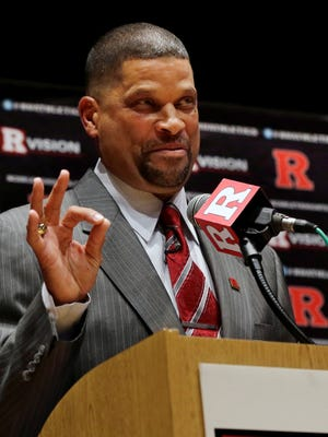 New Rutgers coach Eddie Jordan speaks during an NCAA college basketball news conference, Tuesday, April 23, 2013, in New Brunswick, N.J.