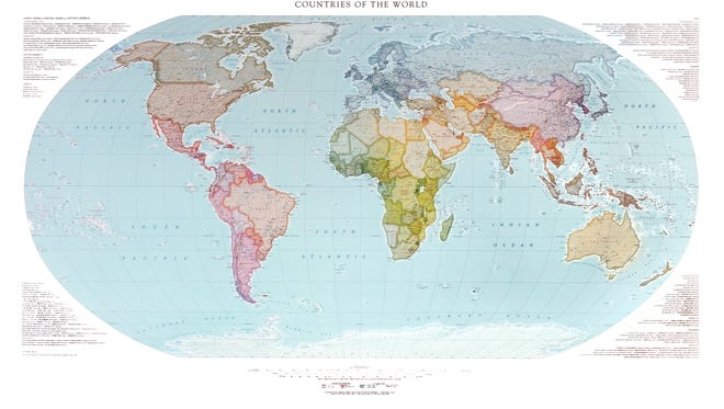 The continents and countries of the world can be seen on this map.