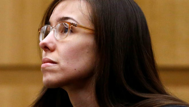 Jodi Arias  during her murder trial at Maricopa County Superior Court in Phoenix on May 8. Arias was convicted of stabbing and shooting to death Travis Alexander, 30, in his suburban Phoenix home in June 2008.