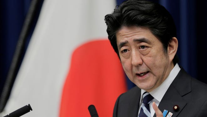 Japanese Prime Minister Shinzo Abe speaks during a news conference on the Trans-Pacific Partnership on March 15 in Tokyo.