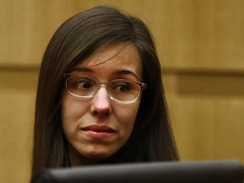 jodi arias looks to her mother after being found guilty of first