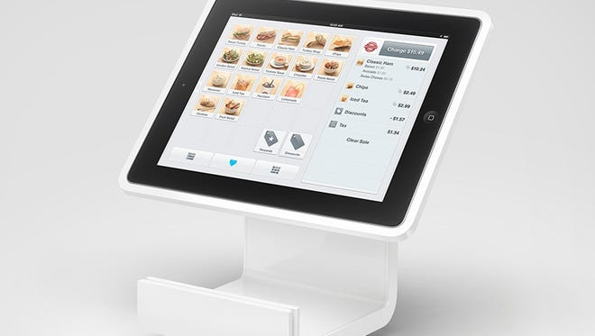 The Square Stand is a piece of hardware that transforms an iPad tablet into a digital point-of-sale system that would replace traditional cash registers. It starts at $299.