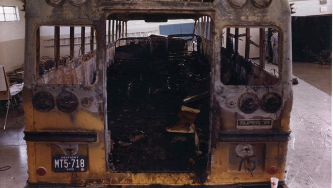 The hull of the bus involved in a crash that claimed the lives of 27 victims in a May 14, 1988, head-on collision with a pickup truck at a Kentucky National Guard Armory in Carrollton, Ky.