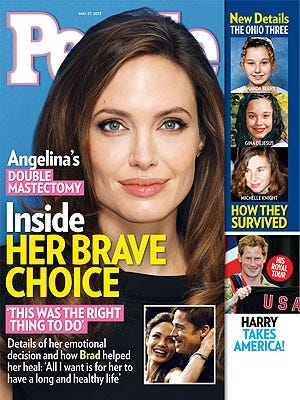 People magazine focuses on Angelina Jolie's 'Brave Choice' in its new issue, out Friday.