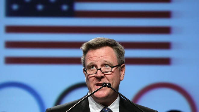 USOC chief executive officer Scott Blackmun speaks at a news conference in Dallas at an Olympic media summit on May 14, 2012.