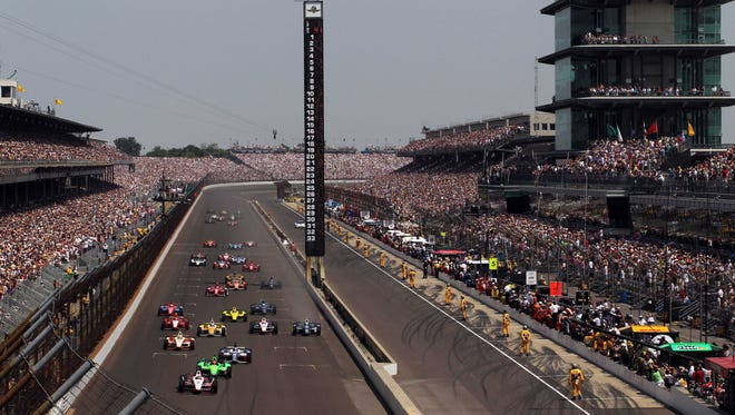 A general view of the Indianapolis Motor Speedway during a ceremonial lap before the start of the 2012 Indianapolis 500.