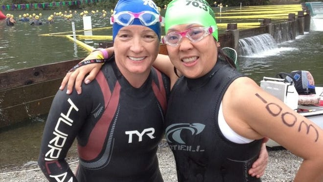 Margaret Pometta (left) poses with best friend and training partner Nanette Nanjo-Jones. In 2012, Pometta participated in the Vineman Half Ironman in Sebastapol, Calif., and suffered cardiac arrest. She died several hours later.
