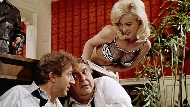 Mel Brooks' 1968 film 'The Producers,' starred Gene Wilder, left, Zero Mostel and Lee Meredith.