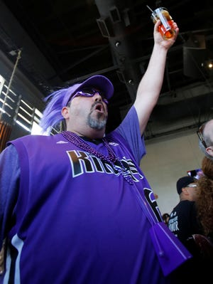 Sacramento Kings fan Dave Hlavato reacts to the news that the NBA has rejected the proposed move of the team to Seattle on Wednesday.