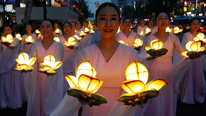 Buddhists celebrate Buddha's birthday during the Lotus Lantern Festival on May 17 in Seoul, South Korea.