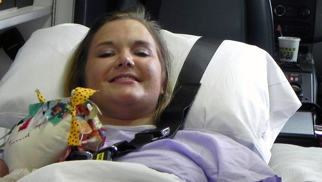 Aimee Copeland smiles as she leaves a hospital in Augusta, Ga., on July 2.