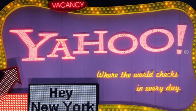 The Yahoo sign in Times Square is seen in this file photo in New York.