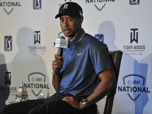 Tiger Woods speaks Monday at Congressional Country Club. He is the defending champion at the AT,T National, June 27-30.