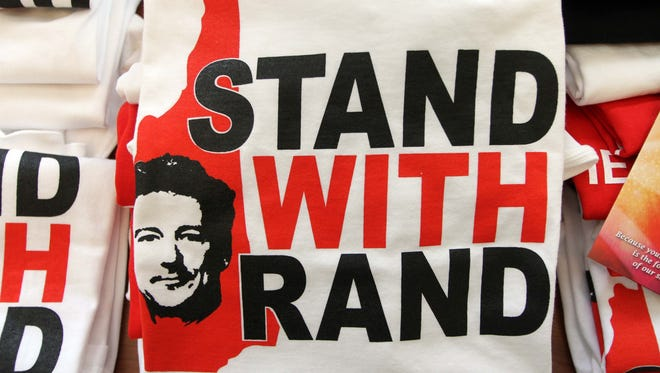 T-shirts supporting Sen. Rand Paul, R-Ky., are displayed for sale at the New Hampshire Republican State Committee Liberty Dinner  Monday, May 20, 2013 in Concord, N.H.