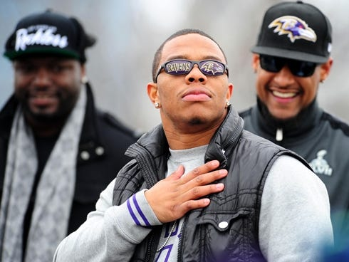 Baltimore Ravens running back Ray Rice during the Super Bowl XLVII victory parade at M,T Bank Stadium. Police say his home was burglarized over the weekend.