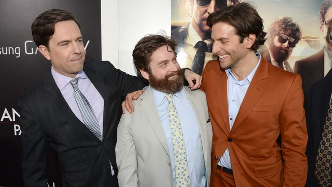Ed Helms, Zach Galifianakis and Bradley Cooper arrive at the premiere 'Hangover Part 3' on May 20.